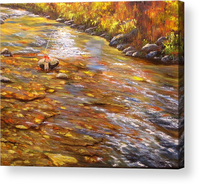 Connie Tom Acrylic Print featuring the painting Fishing Delight by Connie Tom