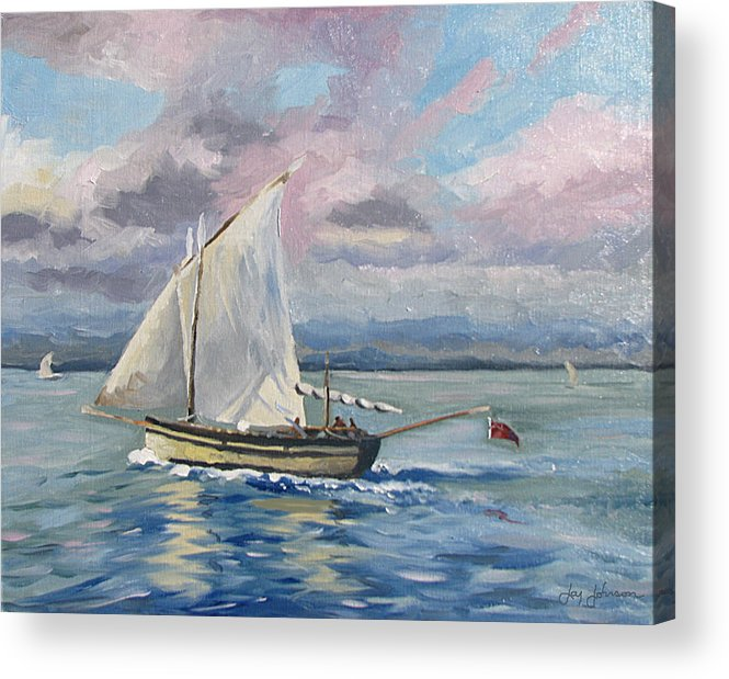 Sailing The Channel Acrylic Print featuring the painting Fishing The Channel by Jay Johnson