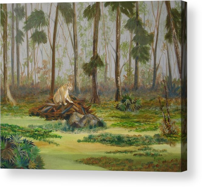 Florida Acrylic Print featuring the painting Florida Panther by Susan Kubes