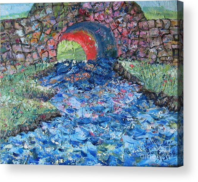 Landscape Acrylic Print featuring the painting Flowing On by Judith Espinoza