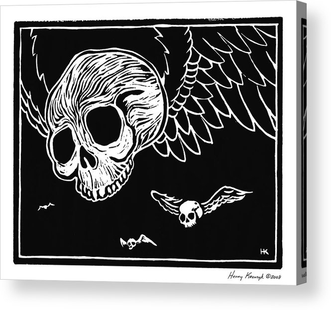Krauzyk Acrylic Print featuring the print Flying Skulls by Henry Krauzyk