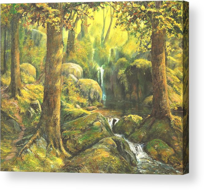 Landscape Acrylic Print featuring the painting Forest Enchantment by Craig shanti Mackinnon