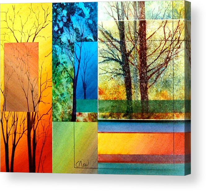 Trees Acrylic Print featuring the painting Four Seasons by Claude Noel