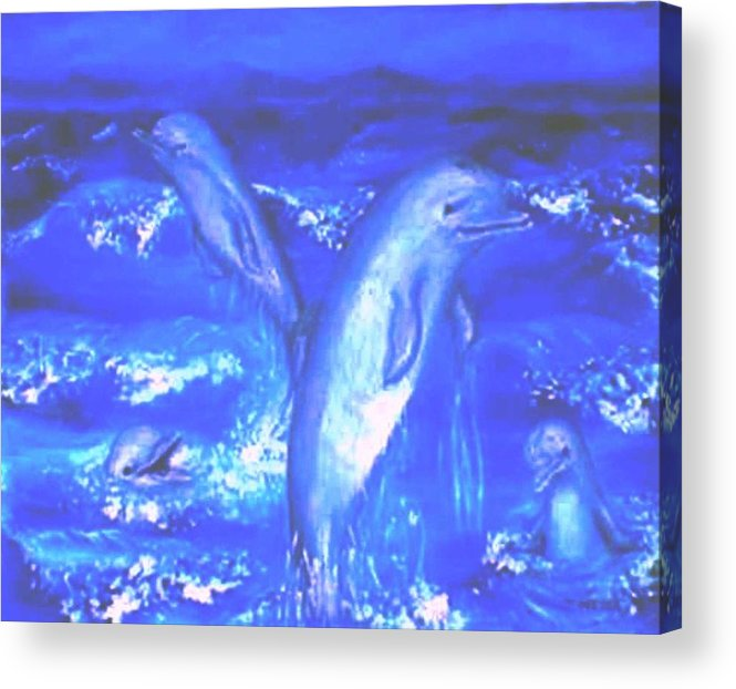 Dolphins Frolicking Ocean Blues Acrylic Print featuring the painting Frolicking Dolphins by Tanna Lee M Wells