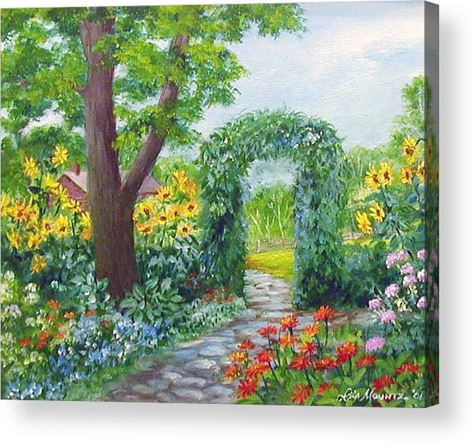 Landscape;garden;sunflowers;archway;stone Path;summer; Acrylic Print featuring the painting Garden With Sunflowers by Lois Mountz