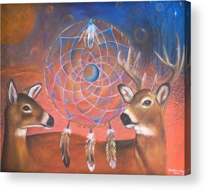 Deer Acrylic Print featuring the painting Gentle Love by Sundara Fawn
