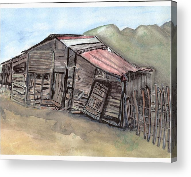 Barn Acrylic Print featuring the painting Gila New Mexico Cattle Barn by Margaret Fortunato