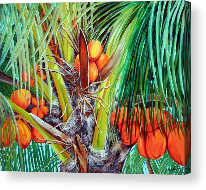 Coconuts Acrylic Print featuring the painting Golden Coconuts by Jose Manuel Abraham