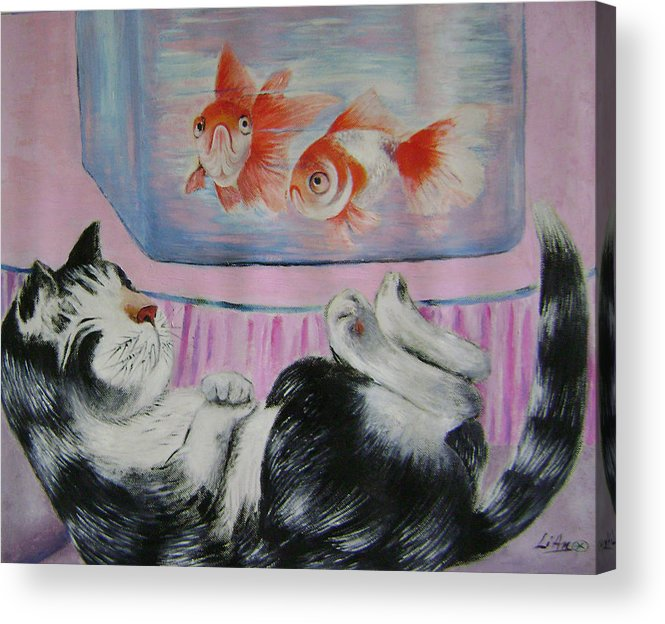Fantasy Acrylic Print featuring the painting Goldfish Dream by Lian Zhen