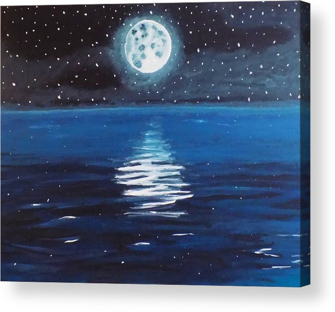 Moon Acrylic Print featuring the painting Good Night Moon 1 by Renae Shore