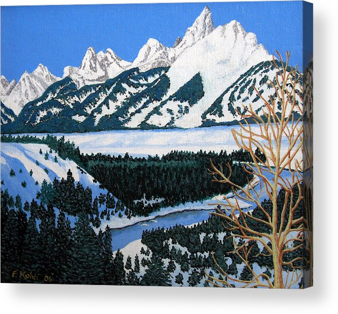 Landscape Art Acrylic Print featuring the painting Grand Teton by Frederic Kohli
