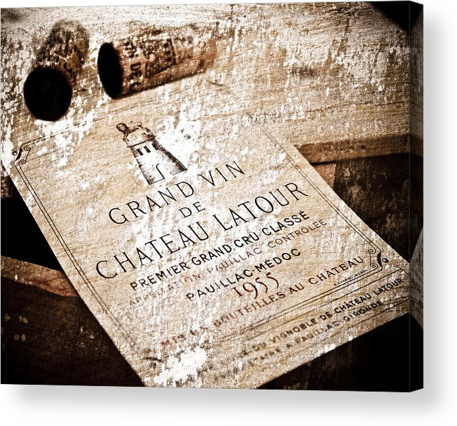 Frank Tschakert Acrylic Print featuring the mixed media Great Wines Of Bordeaux - Chateau Latour 1955 by Frank Tschakert