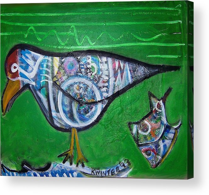 Abstract Red Blue Yellow Purple Acrylic Print featuring the mixed media Gull by Dave Kwinter