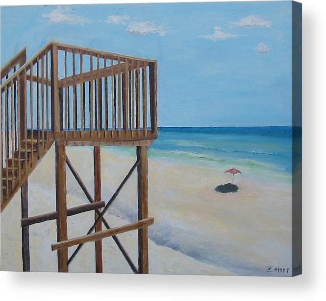 Seascape Acrylic Print featuring the painting High Deck At Blue Mountain Beach by John Terry
