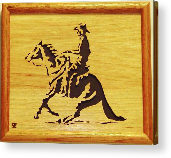 Sculpture Acrylic Print featuring the sculpture Horse With Rider by Russell Ellingsworth