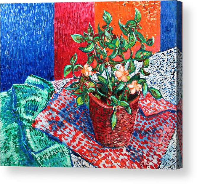 Still Life Acrylic Print featuring the painting Impatiens by Rollin Kocsis