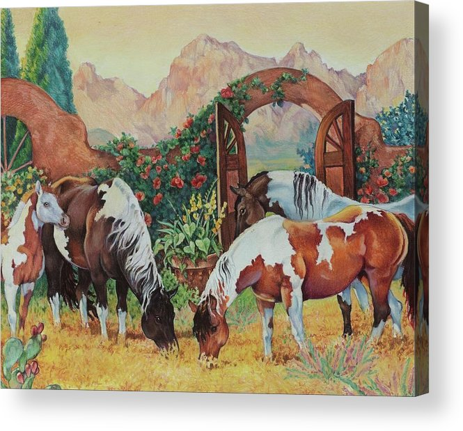 Pintos Acrylic Print featuring the painting In The Garden by Eden Alvernaz
