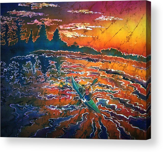 Kayak Acrylic Print featuring the painting Kayak Serenity by Sue Duda