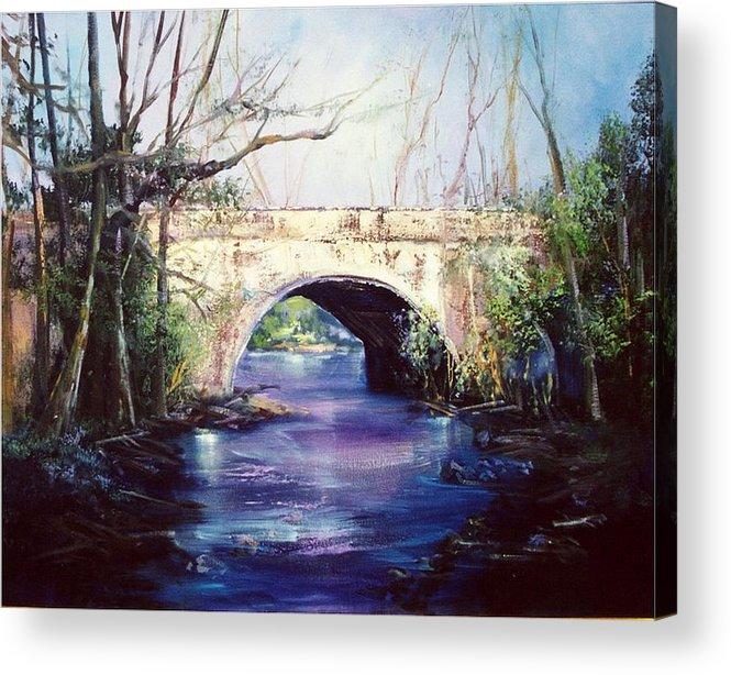 Bridge Acrylic Print featuring the painting Lake District Bridge by Sally Seago