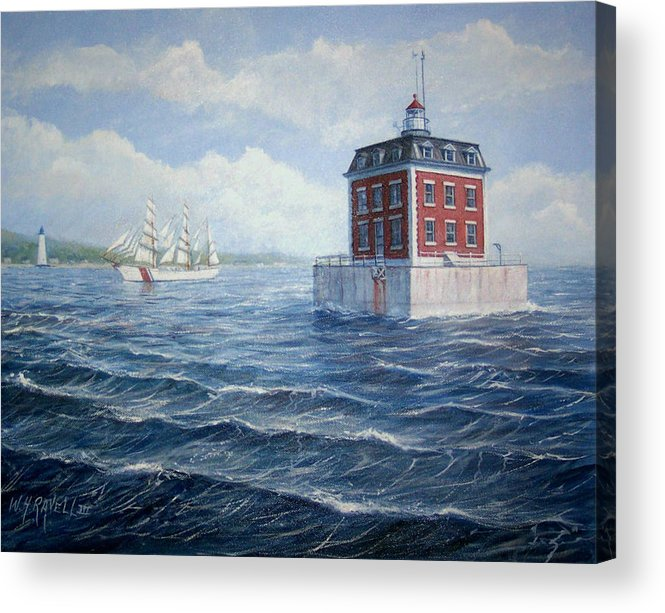 Lighthouse Acrylic Print featuring the painting Ledge Lighthouse by William H RaVell III