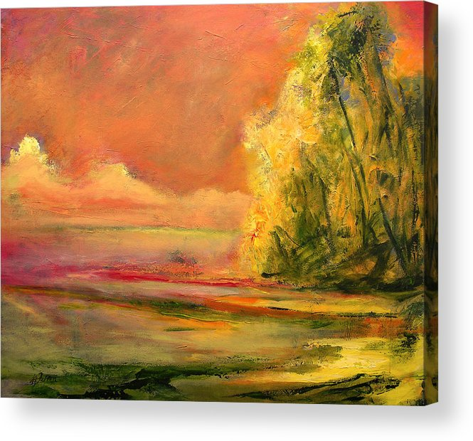 Large Canvas Reproductions Acrylic Print featuring the painting Luminous Sunset 2-16-06 Julianne Felton by Julianne Felton