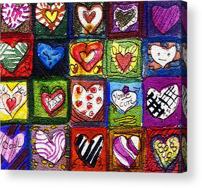 Hearts Acrylic Print featuring the painting Me Luv by Mindy Newman