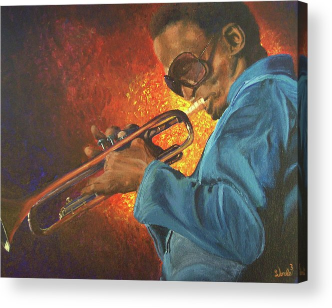 Music Paintings Acrylic Print featuring the painting Miles by Bill Werle