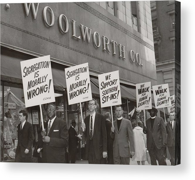 History Acrylic Print featuring the photograph Ministers Picket F.w. Woolworth Store by Everett