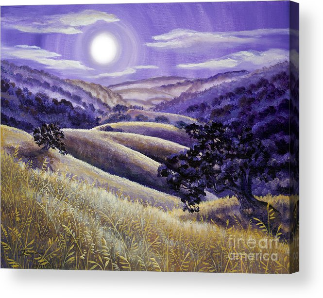 Landscape Acrylic Print featuring the painting Moonrise Over Monte Bello by Laura Iverson