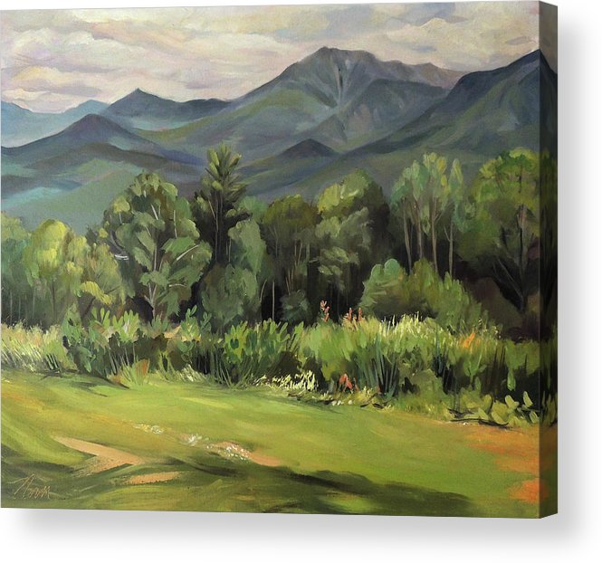 White Mountain Paintngs Acrylic Print featuring the painting Mount Lafayette From Sugar Hill New Hampshire by Nancy Griswold