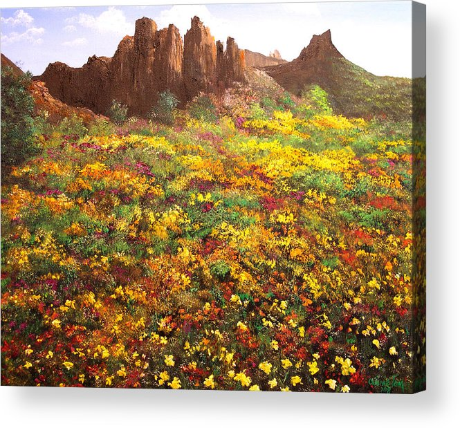 Connie Tom Acrylic Print featuring the painting Mountain Wildflowers II by Connie Tom