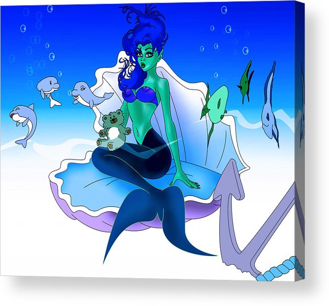 Mermaid Acrylic Print featuring the painting My Little Mermaid by Lynn Rider