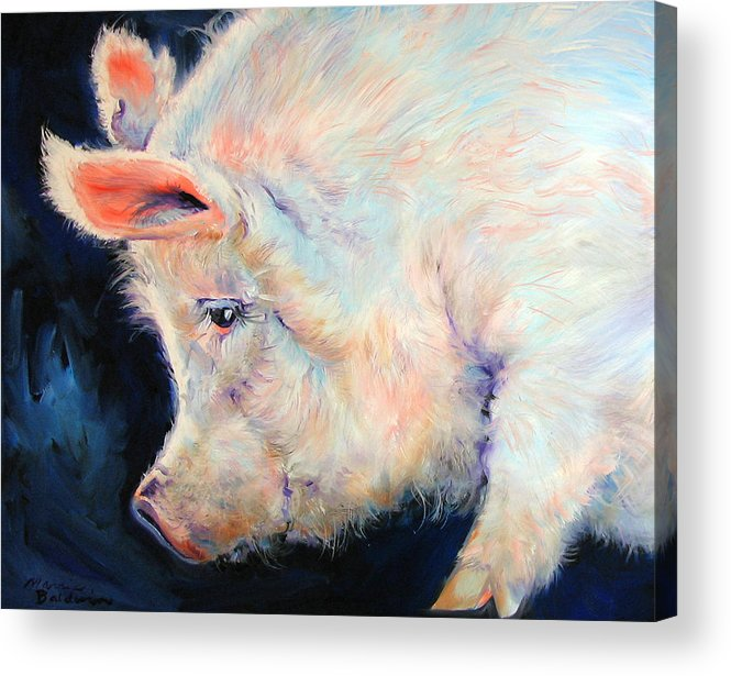 Pig Acrylic Print featuring the painting My Pink Pig For A Lucky Day By M Baldwin by Marcia Baldwin