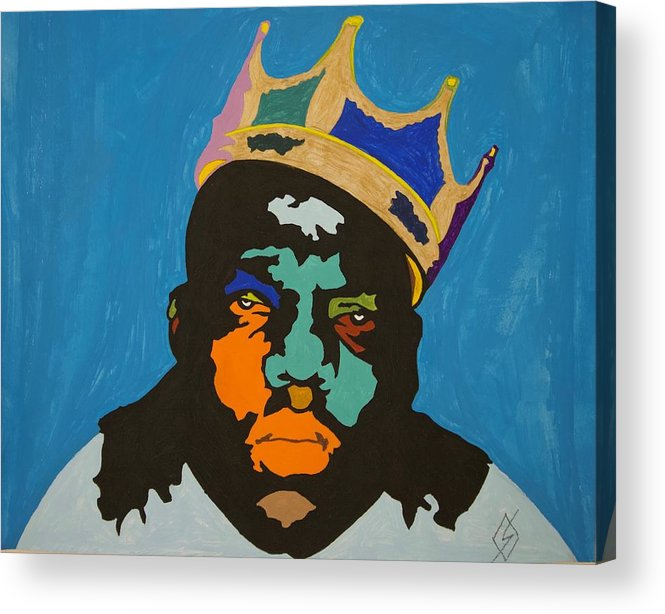 Biggie Acrylic Print featuring the painting Notorious B I G by Stormm Bradshaw