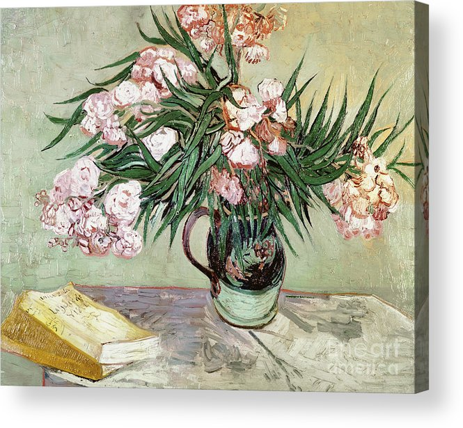 Vincent Van Gogh Acrylic Print featuring the painting Oleanders And Books by Vincent van Gogh