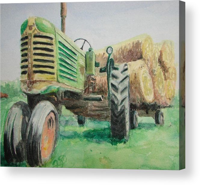 Tractor Paintings Acrylic Print featuring the painting Olivers Still Working by Patsy Kline