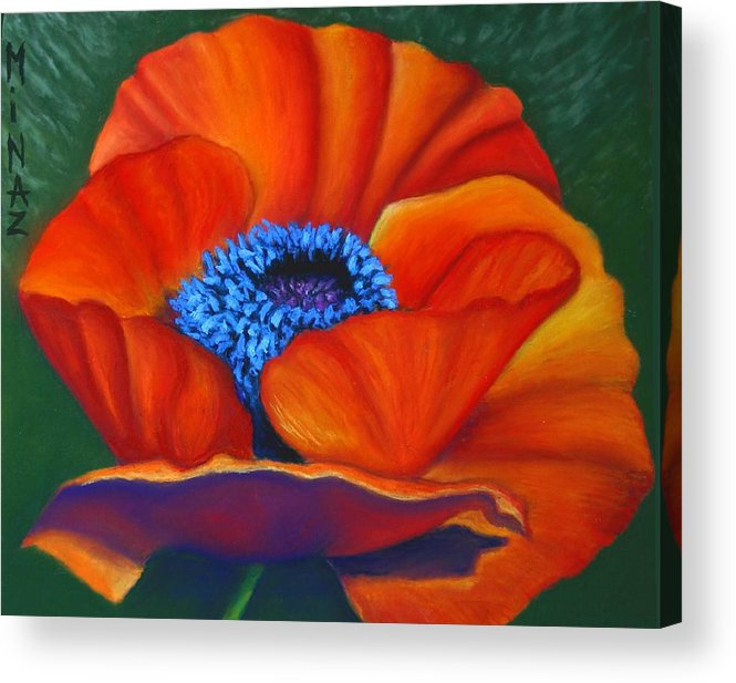 Red Flower Acrylic Print featuring the painting Poppy Pleasure by Minaz Jantz