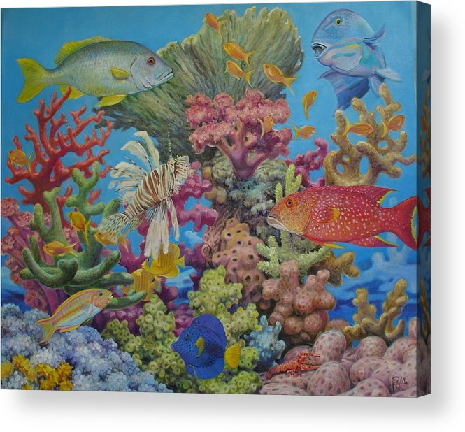 Underwater Acrylic Print featuring the painting Red Sea Reef by Henry David Potwin