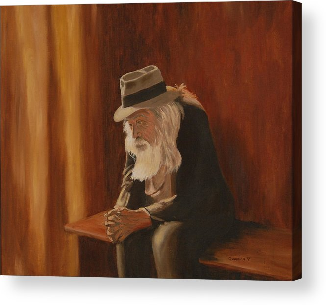 Man Acrylic Print featuring the painting Remembrance by Quwatha Valentine