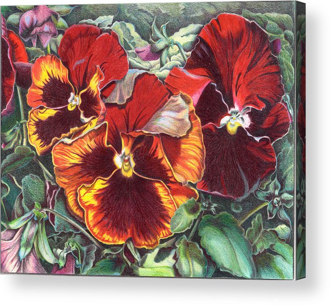 Florals Acrylic Print featuring the painting Ring Of Fire by Joyce Hutchinson