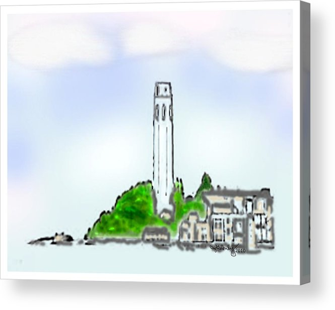 Telegraph Hill Art 2010 Atc Acrylic Print featuring the mixed media San Francisco 1986 Telegraph Hill The Museum Zazzle Gifts Watercolor 1 Jgibney 2010 by jGibney