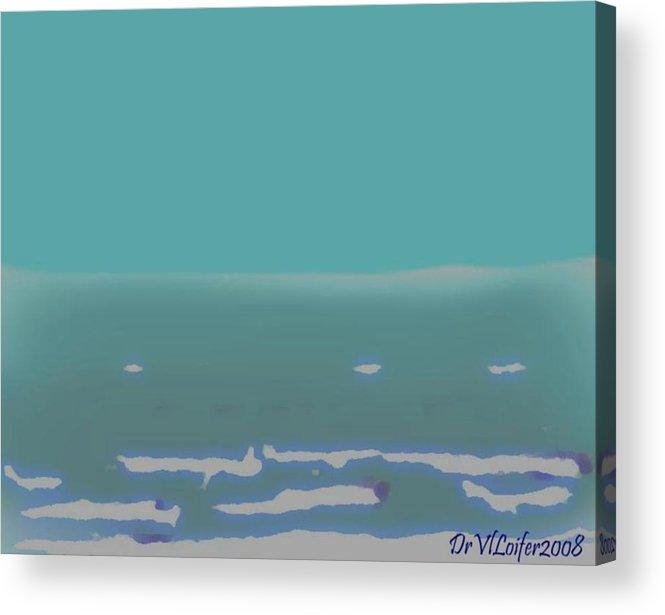 Night.no Moon.sky.sea.waves.coast. Sea Surf .foam Waves. Acrylic Print featuring the digital art Sea.night.no Moon. by Dr Loifer Vladimir