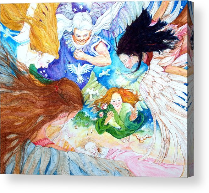 Angels Acrylic Print featuring the drawing Set Your Mind On Things Above by Jill Iversen