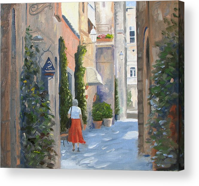 Orvieto Shopping Acrylic Print featuring the painting Shopping In Orvieto by Jay Johnson