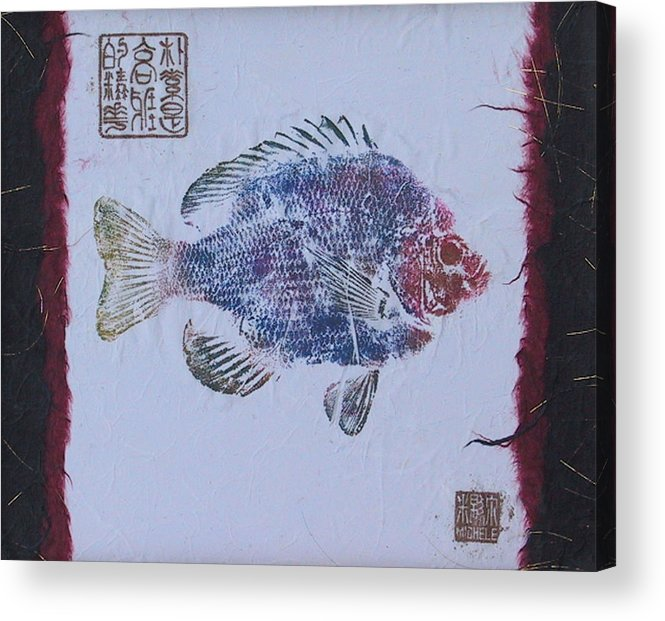 Gyotaku Acrylic Print featuring the mixed media Simpliciity Is The Heart Of Elegance by Michele Caporaso