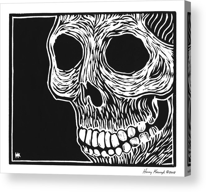 Krauzyk Acrylic Print featuring the print Skull Aware by Henry Krauzyk