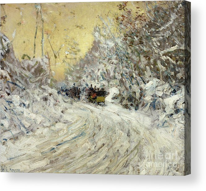 Sleigh Ride In Central Park (oil On Canvas) By Childe Hassam (1859-1935) New York City; Nyc; Manhattan; Winter; Snow; Snowy; American Impressionist; The Ten Group; Central Acrylic Print featuring the painting Sleigh Ride In Central Park by Childe Hassam