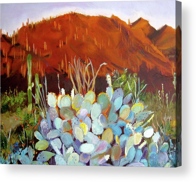 Sunset Acrylic Print featuring the painting Sonoran Sunset by Julie Todd-Cundiff