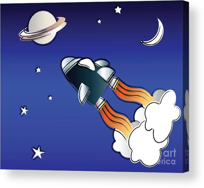 Background Acrylic Print featuring the digital art Space Travel by Jane Rix