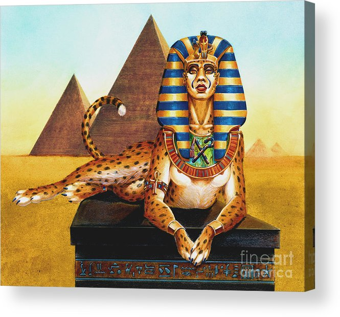 Cat Acrylic Print featuring the painting Sphinx On Plinth by Melissa A Benson